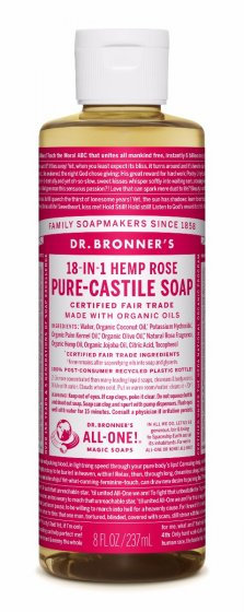 Dr Bronners Pure Castile Liquid Soap - Rose - 237ml