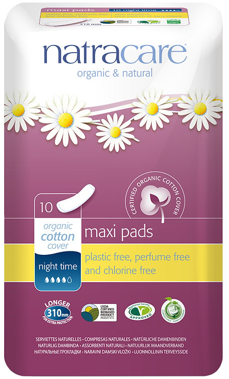 Natracare Night Time Natural Maxi Pads - 10