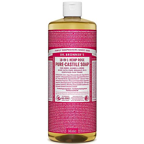 Dr Bronners Pure Castile Liquid Soap - Rose - 946ml