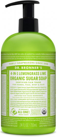 Dr Bronners Organic Sugar Soap Lemongrass - 710ml
