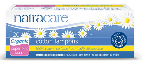 Natracare Super Plus Non-Applicator Organic Cotton Tampons - 20
