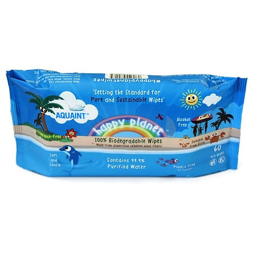 Happy Planet 100% Biodegradable Purified Water Eco Wipes