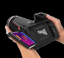 C400M kamera v rukou zobrazuje scénář ručního teplotního screeningu