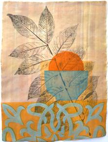 Orangerie (Gift), 40x30.5cm, relief, acrylic and flocking on handmade washi. $300