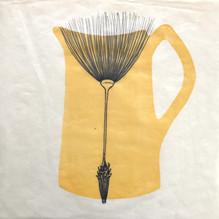 "Yellow Jug, 12""x12"", Ink drawing and rel"