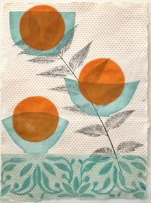 Orangerie (Morning), 38x28cm, relief and flocking on handmade washi. $300