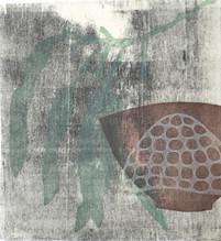 Cabin Shadows. 30 x 27cm, relief on washi. $200.