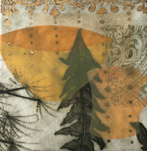There Have I Been, 30.5 x 30.5cm, litho, drypoint, goldleaf and relief. $300.