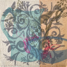 Song of Strength, 30.5 x30.5cm, litho, stencil and relief on washi treated with konnyaku. $300.