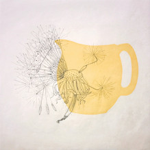 """Yellow Pitcher, 12""""x12"""", Ink drawing and"""