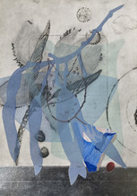 By Water, 38 x 27cm, drypoint, relief, silverleaf and acrylic. $300.