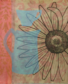 A Paradise at Home (Daisy), 40x35cm, drypoint on Gampi wetmounted on Muran Hoban washi, relief and acrylic stencil, $300