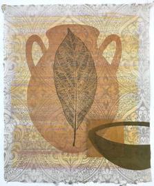 Oaxaca Afternoon Heat, 42x34cm, relief and acrylic on handmade Mura Hoban washi. $300