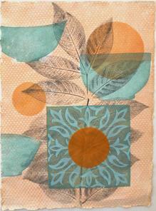 Orangerie (Pleasures), 38x28cm, relief and flocking on handmade washi. $300