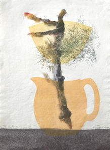 Pine Branch, 38x28cm, monoprint and relief on handmade paper. $300.