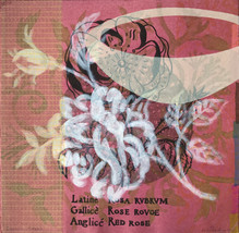 Dusk Roses, 30.5x30.5cm, litho, screenprint, stencil, acrylic and relief. $300.