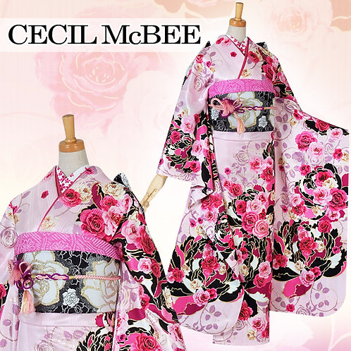 CECIL Mc BEE ピンク 牡丹と薔薇振袖(R1523)