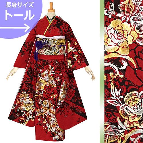 赤地 薔薇に蝶振袖(R1230)