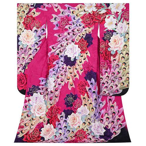 Lako Kula ピンク バラと孔雀羽根振袖(R1724)