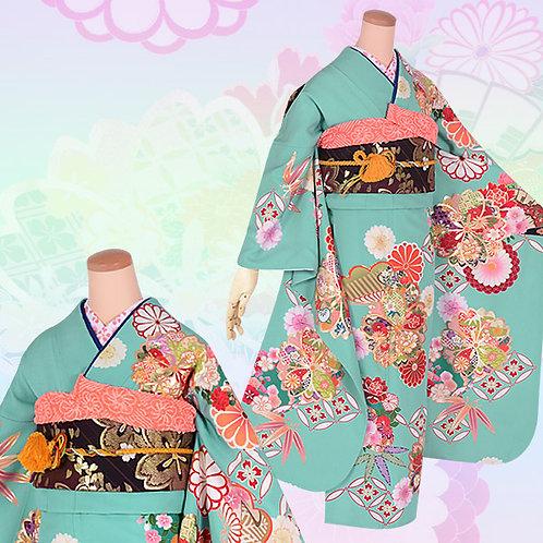 青緑 松笹に桜と菊振袖(R1622)
