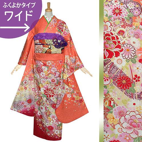 オレンジ 桜牡丹に毬振袖(R1210)
