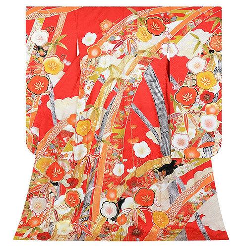 赤 笹竹に梅(R1779)