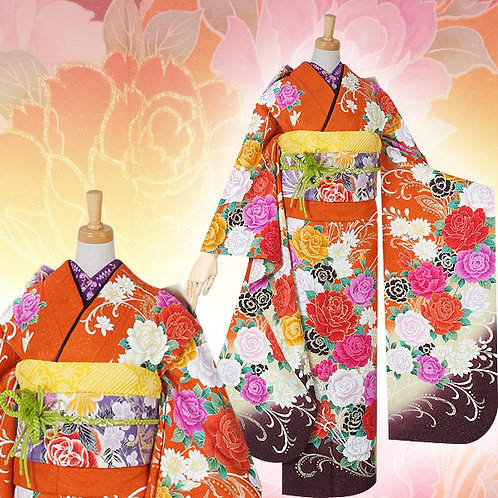 オレンジ 薔薇振袖(R1547)