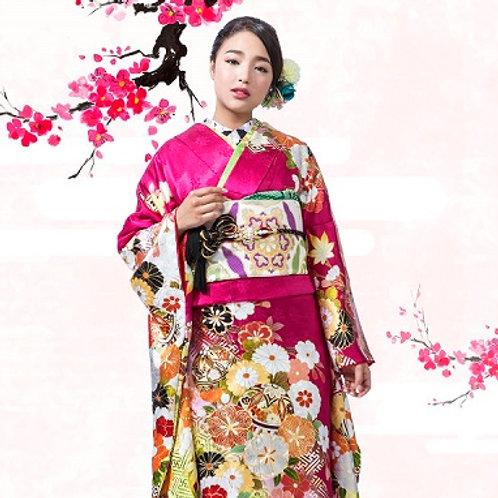 赤紫×白 毬に桜菊梅松(R1813)