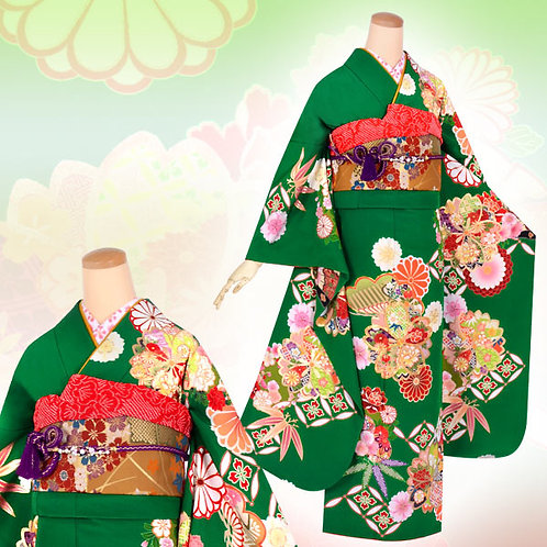 緑 大輪桜松菊振袖(R1620)
