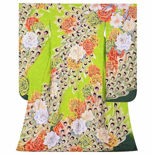 Lako Kula 黄緑 バラと孔雀羽根振袖(R1723 )
