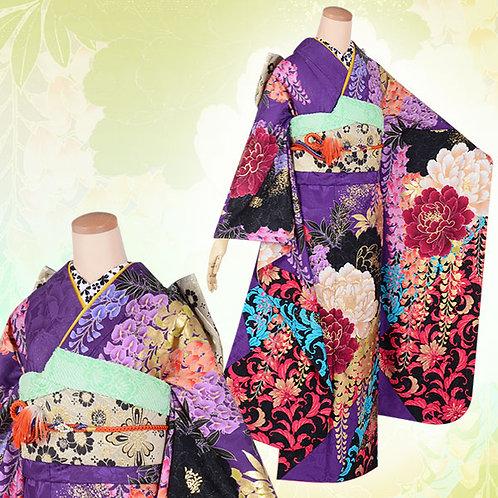 Lako Kula 紫 大牡丹と藤振袖(R1722)