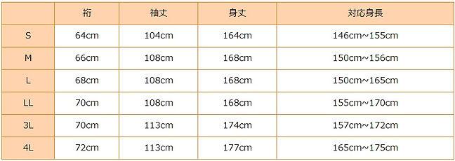 ファーストレンタル基準サイズ表