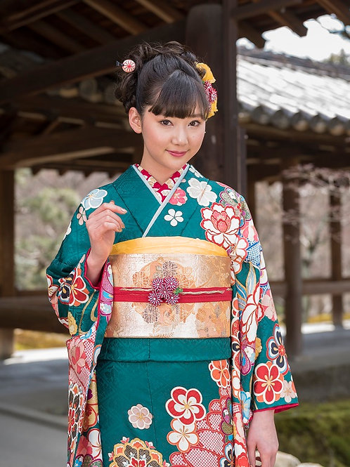 緑 流水に菊梅桜牡丹笹(R1830 )