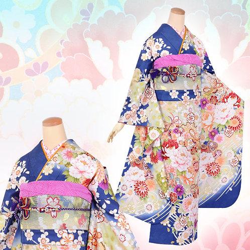 青地 枝垂桜に手毬牡丹振袖(R1618)