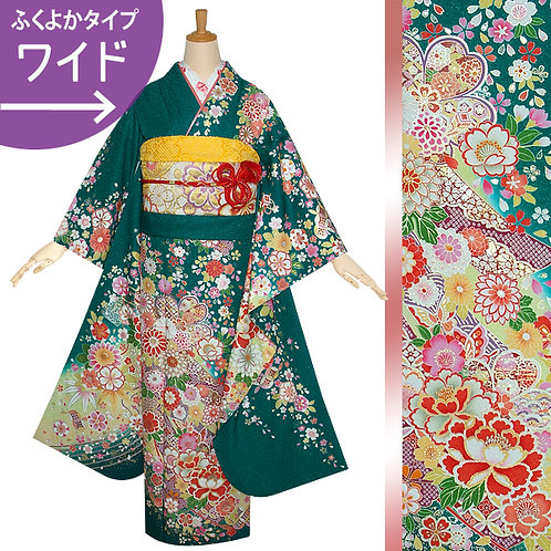 緑 桜菊花に宝づくし振袖(R1211)