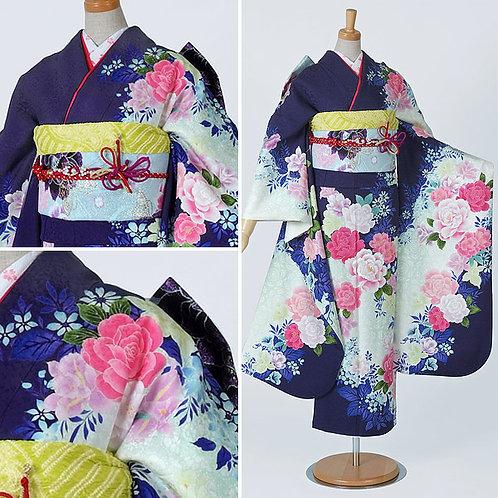 紺紫白 薔薇振袖(R1545)