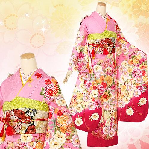 ピンク 雪輪に花結び振袖(R1375)