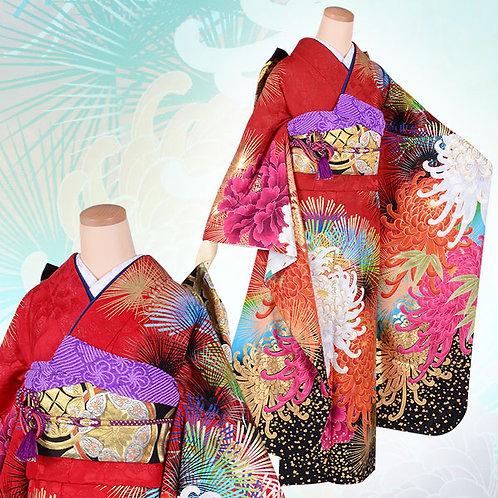 Lako Kula 赤地 大輪牡丹菊と松振袖(R1725)