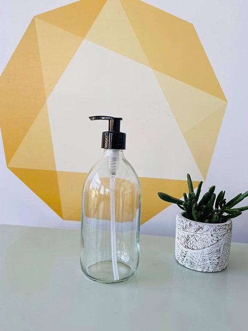 Clear Glass Soap Dispenser - Plastic Pump -500ml