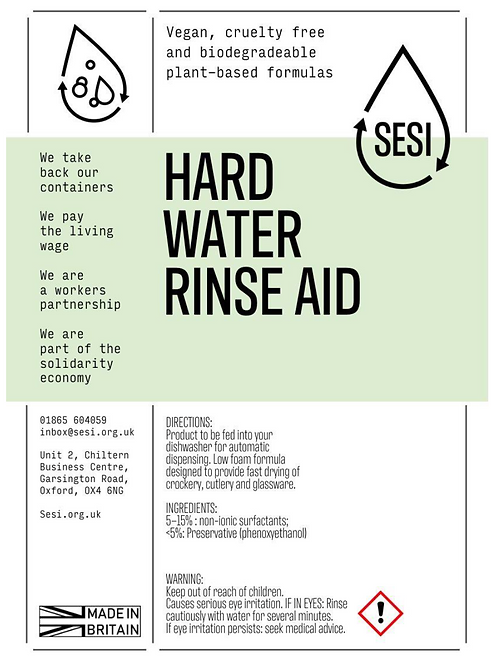 Hard Water Rinse Aid £4.00/litre