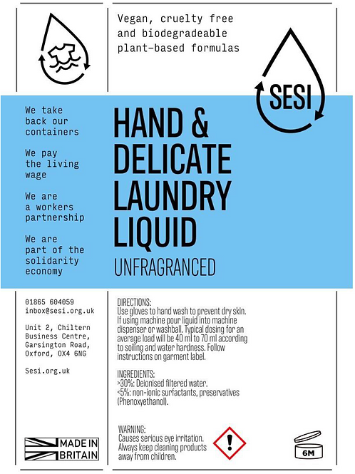 Hand Wash and Delicate Laundry Liquid - SESI £7.00 /litre