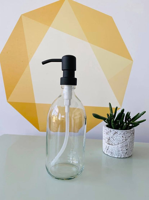 Clear Glass Soap Dispenser - Stainless Steel Pump - 500ml