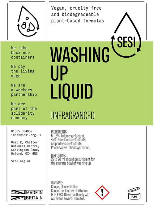 Washing Up Liquid - Unscented -  SESI £2.80 /litre