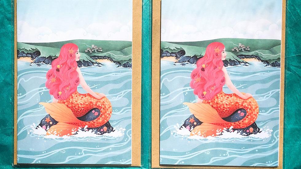 Mermaid of Zennor Greetings Card Pack of 2