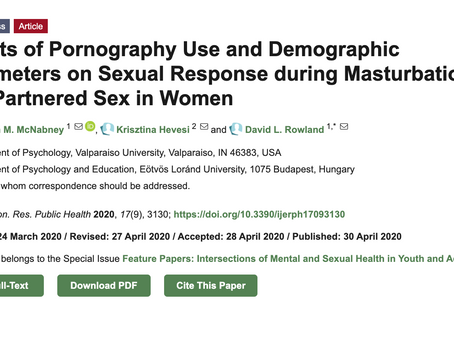 Porn use improves pleasure, arousal and orgasmic outcome in masturbation and partnered sex for women