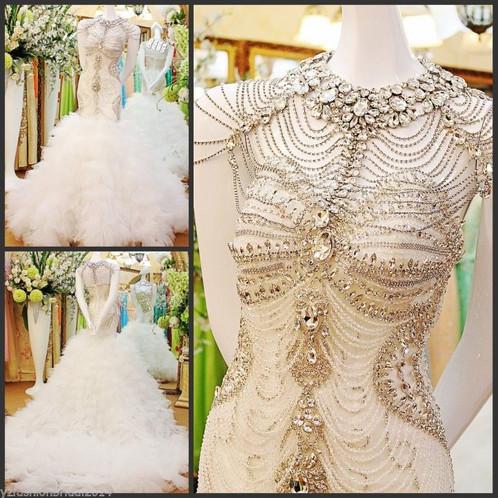 dd5fef35a1a4 YZ Beads Crystal Sexy Diamond Wedding Dresses VXGV