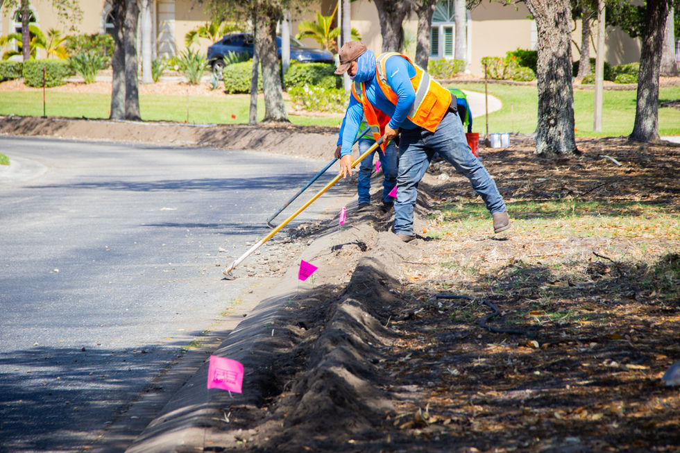 Overseeing the digging of irrigation trenches for streetscape in Port Charlotte, Florida (March 2021)