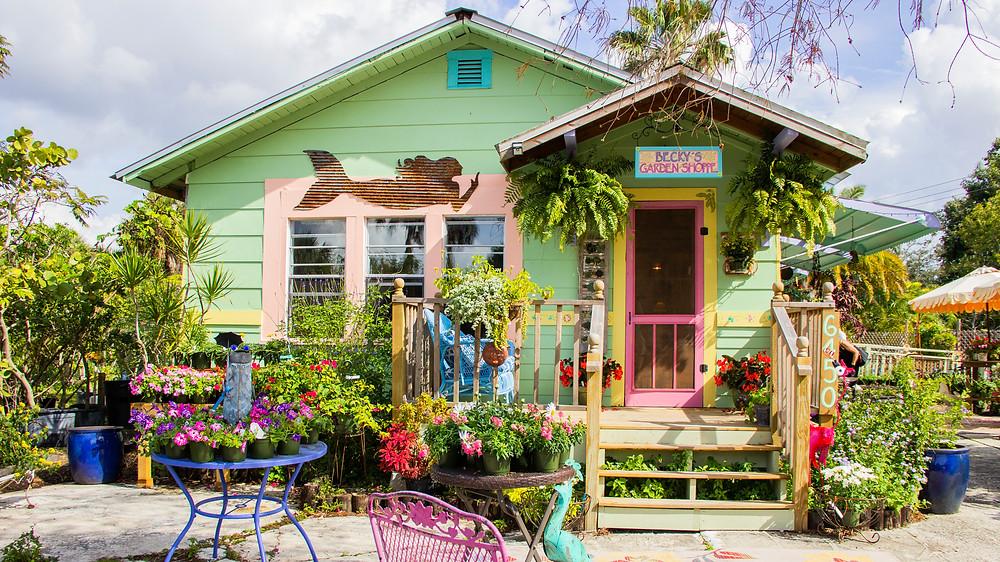 Becky's Garden Shoppe colorful storefront garden