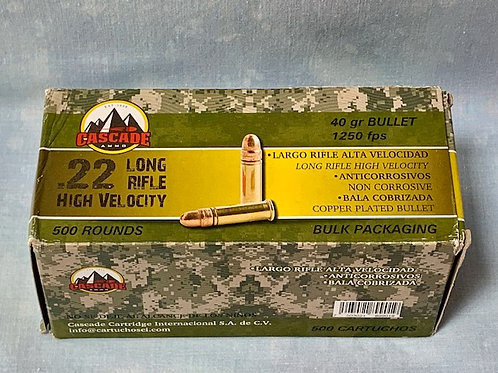 .22 Long Rifle Cascade High Velocity 40gr   500 Rounds