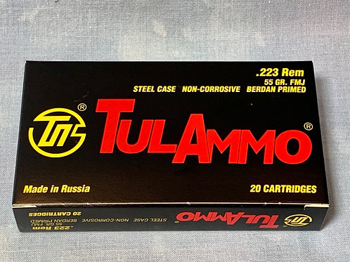 .223 Rem Tula 55gr FMJ Steel Case    20 Round Box
